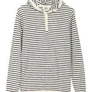 Hedge Mens striped hooded sweater BNWOT white